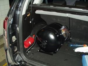 Widok na butlę gazową w Suzuki